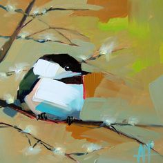 Chickadee no. 604 original bird oil painting by Angela Moulton prattcreekart