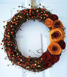 The Wreath Blog: Fall Felt Rosette Wreath at Crafting Mom