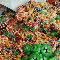 Flavorful vegetarian main-dish, or an incredibly tasty side...you will LOVE this quinoa! Makes 6-8 servings Ingredients: 2 tsp avocado oil, or olive oil 1-2 jalapeño peppers, seeded, and minced 4 cloves garlic, minced 2 cups vegetable broth 1 (15 oz) diced fire roasted tomatoes, with liquid...