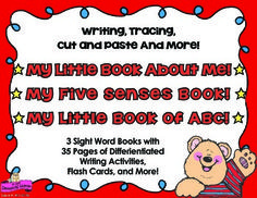 Three Sight Word Books with activities for Early Readers Reading, Writing, Tracing, and Activities  Fold and Go Books! 1. All About Me Book and Activities 2. My Five Senses Book and Activities 3. My Little Book of ABC and Activities  by Pam D'Alessandro 3 Little Sight Word Reading and Writing Books ready to print - no cutting or stapling for the Teacher! ____________________________________________________ 38 Pages!