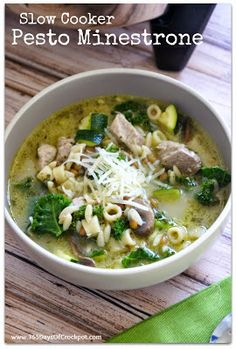 Slow Cooker Verde Minestrone Soup--this is seriously so amazing!  Fairly healthy too!