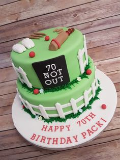 Cricket themed cake #cricketcake #noveltycake #bakedonpremises #bespokecakes Cricket Birthday Cake, Cricket Theme Cake, Soccer Birthday Cakes, Soccer Cake, Dad Birthday, Dad Cake, Princess Cakes, Poke Cakes, Novelty Cakes