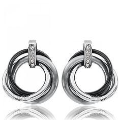 Ladies silver metal Aqua earrings - Cerruti 1881