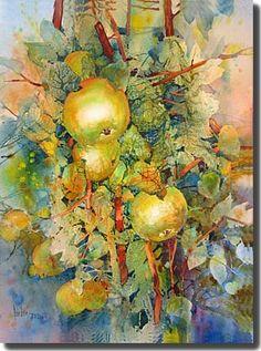 """Rose Edin """"Green Apples"""" Watercolor"""