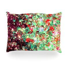 "Ebi Emporium ""Mistletoe Nebula"" Red Green Outdoor Throw Pillow"