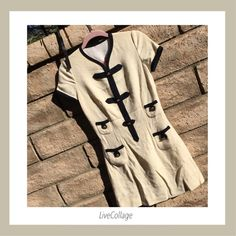 Authentic Chanel Cream Wool Dress w/Black Trim!OBO Authentic Chanel Cream Wool Dress w/Black Trim & Gold Color Buttons, Hook/Eye Closure @ Top, 2 Top Pockets, 2 Bottom Pockets, Invisible Side Zip Opening, Lined. Great Pre-Loved Condition As Is. OBO! Time To Let It Go.  CHANEL Dresses Mini