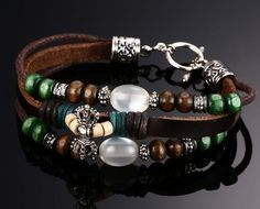 Leather Bracelet With Pearl Beads