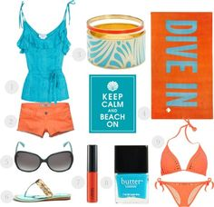Beach essentials collage by Simply Fabulous Chic
