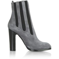 Alaïa Suede ankle boots ($590) ❤ liked on Polyvore featuring shoes, boots, ankle booties, grey, gray boots, grey ankle boots, gray ankle boots, grey suede booties and grey suede boots