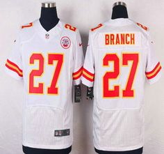 Kansas City Chiefs Jersey 27 Tyvon Branch White Road NFL Nike Elite Jerseys