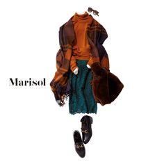 社内での冷え対策に大判ストール。ニットと同系色を選んでなじませて【2018/1/25コーデ】Marisol ONLINE 女っぷり上々!40代をもっとキレイに。