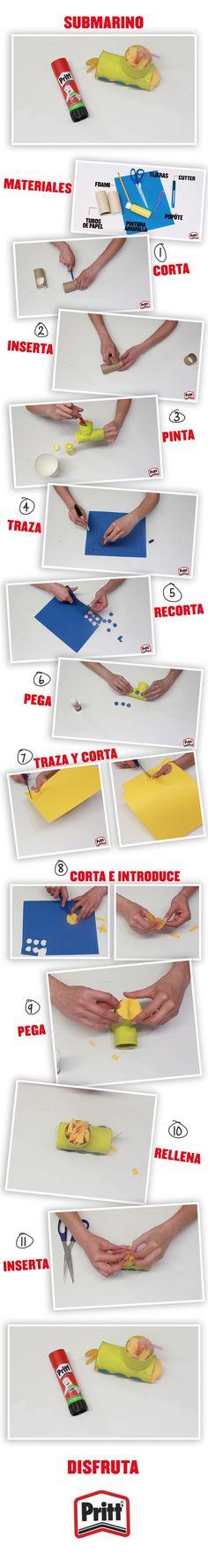 Una divertida forma de poner a navegar tu imaginación. Este submarino de cartón es muy sencillo y divertido de realizar, tan sólo necesitas los siguientes materiales: -Tijeras -Cutter -Foami azul -Popote -2 tubos de papel de baño -Pintura amarilla -Lápiz Adhesivo marca Pritt