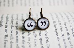 quotation drop earrings