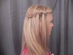 waterfall hairstyle for wedding   ...  . She posted about a hair style called the  waterfall braid  what about this but on both sides with that coming down the back also? @Jackie Godbold Godbold Godbold Taormina