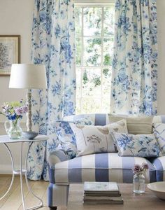 Living Room , Beautify Your Living Room With French Country Curtains : Floral Blue French Country Curtains In Living Room