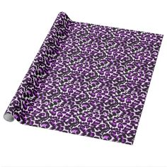 Purple and Black Leopard Print Gift Wrap Paper