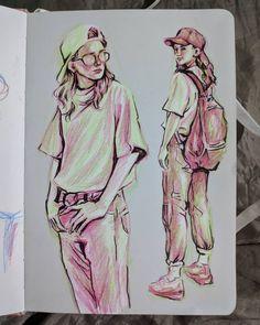 tips, techniques, sharing pieces. Cool Art Drawings, Art Drawings Sketches, Cartoon Drawings, Watercolor Sketchbook, Arte Sketchbook, Art And Illustration, Drawings Pinterest, Angel Drawing, Sketchbook Inspiration