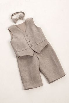 Kids boy natural linen suit, baby boy clothes, kids eco friendly, first birthday boy outfit, ring bearer baby boy, natural gray boy suit. $75.00, via Etsy.