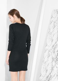 Mango - Ribbed jersey dress