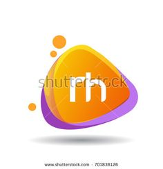 Letter RH logo in triangle splash and colorful background.