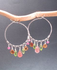 Hammered hoops with pink tourmaline, citrine, peridot, and cherry quartz