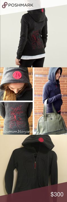 Very rare!Lululemon Chakra Scuba Ultra Rare Special Edition Lululemon Scuba Hoodie ll SE Chakra in dark heathered gray with the Chakra Tree of Life and red Lululemon logo on hood and the back. Longer length scuba hoodie with ribbed paneling on the side for extra movement. The embroidered red Tree of Life is simply AMAZING. SPECIAL edition inscription on inner lining. Size 4. No tags. Has amazing thumbholes to keep hands warm in cold weather!❌NO LOW OFFERS❌NO RUDE COMMENTS ❌ lululemon…