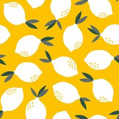 PBS Fabrics - Fruity - Lemons in Yellow by Bobbie Lou's Fabric Factory Lemon Art, Mirror Crafts, Moon Crafts, Fabric Factory, Gown Pattern, Yellow Background, Sew On Patches, Canvas Fabric, Pattern Paper