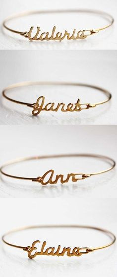 Custom Name Bracelets for bridesmaids gifts. Personalised gold bracelets would be a lovely gift to share with the bridesmaids before or after the wedding. Trendy Wedding, Dream Wedding, Wedding Day, Gold Wedding, Sister Wedding, Budget Wedding, Bridesmaids And Groomsmen, Wedding Bridesmaids, Bridesmaid Ideas