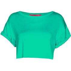 Boohoo Sarah Crop Roll Back Sleeve Tee ($10) ❤ liked on Polyvore featuring tops, t-shirts, shirts, crop tops, green top, roll top, crop t shirt, shirts & tops and roll sleeve t shirt
