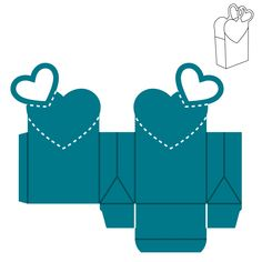 Bag-Heart Wedding favors or Valentine's Day treats would look beautiful in this lovely bag with a heart shape cut-out on top. Room mothers would flip over this easy box to fill with treats. Diy Gift Box, Diy Box, Cool Paper Crafts, Diy And Crafts, Paper Cards, Paper Gifts, Baby Shower Souvenirs, Paper Box Template, Eid Crafts