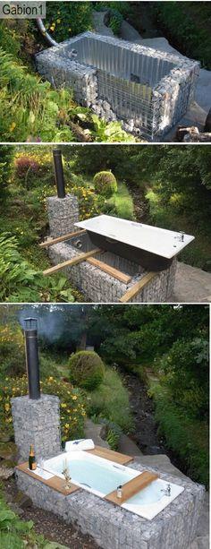 gabion outdoor bath construction by bleu. Outdoor Baths, Outdoor Bathrooms, Outdoor Tub, Outdoor Showers, Outdoor Projects, Garden Projects, Outdoor Spaces, Outdoor Living, Water Features