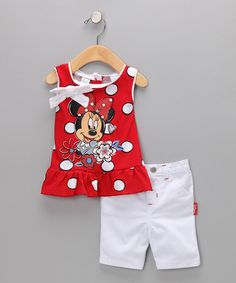 my little lady would love this!!!Take a look at this Red & White Minnie Top & Shorts - Toddler by Disney on #zulily today!