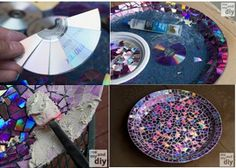 MOSAIC PROJECTS USING RECYCLED DVD'S: cut up DVD's (not CD's) and they will separate into 2 layers = one is very shimmery and changes colors in different lights. Glue pieces to flower pots, table tops, etc, apply grout, and seal. See tutorial for resurrecting this smashed up, glued-together bird bath.