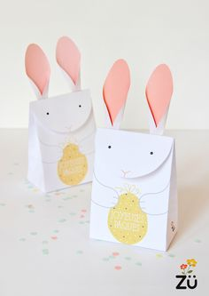 Zu's French Easter Bunny printable gift boxes