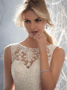 Mori Lee Wedding Dress - beaded lace overlay of sweetheart neckline