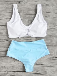 White and Blue Knot Front Tankini Set Bathing Suits For Teens, Summer Bathing Suits, Cute Bathing Suits, Summer Suits, Cute Swimsuits, Cute Bikinis, Blue Fashion, Fashion Outfits, Womens Fashion