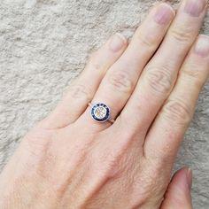 Antique Art Deco Diamond Sapphire Halo Ring by CypressCreekVintage