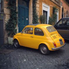 Spotted in Roma! Yellow Fiat 500 in Rione Monti. Photo by @StephenOddo