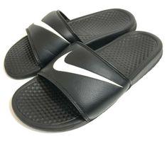d43182035cef Nike Benassi JDI Swoosh Mens Slide Sandals Black White Size 8 Athletic Slip  On  Nike