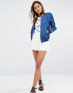 Image 4 of Missguided Denim Bomber Jacket