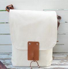 canvas + leather messenger bag