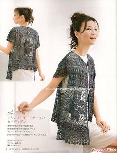 Красиво: ажурный жилет-туника крючком (Япония)