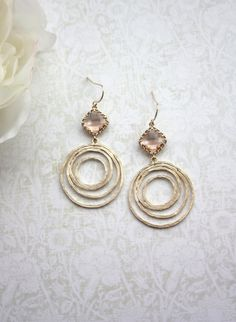 Hey, I found this really awesome Etsy listing at https://www.etsy.com/listing/160682821/peach-glass-drops-gold-plated-textured
