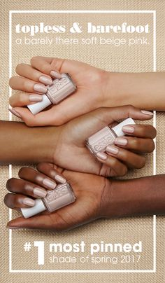 #1 most pinned shade for spring 2017 on Pinterest – nude nails are a hit! revel in the nude with this barely there soft beige pink nail color. perfect for an effortlessly beautiful, beachy look. essie topless & barefoot is the perfect shade for everyone – http://www.scarcrem.com/different-scar-types/