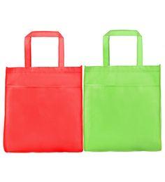 """NWB PK 13 Non Woven Bag with Pocket & Velcro [NWB PK13] Size: 13""""(H) x 13"""" (L) x 3"""" (W) @ 90gsm           : 33cm(H) x 33cm(W) 7.5cm (W) @ 90gsm Material: Non Woven Colour: Red, Green"""