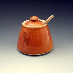 Rich brown glazed honey pot with bees buzzing and honeycomb by emily murphy, $50.00