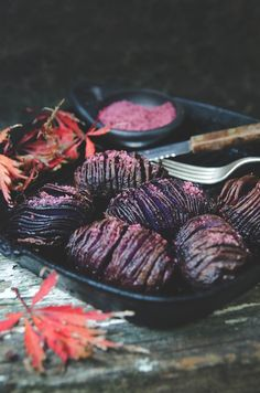 Hasselback potatoes with beetroot & pepperberry salt