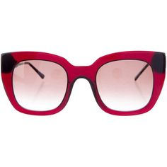 Pre-owned Thierry Lasry Swingy Gradient Sunglass (10.055 RUB) ❤ liked on Polyvore featuring accessories, eyewear, sunglasses, red, oversized cat eye glasses, red cat eye sunglasses, clear glasses, gradient sunglasses and cat eye glasses