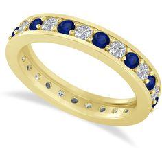 Allurez Diamond & Blue Sapphire Eternity Wedding Band 14k Yellow Gold... (1869265 IQD) ❤ liked on Polyvore featuring jewelry, rings, blue sapphire wedding rings, 14k ring, 14 karat gold ring, yellow gold wedding rings and blue sapphire diamond ring