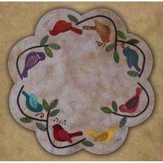 Songbirds Table Mat - this is a sweet little wool applique table mat PATTERN from Primitive Gatherings.I deal for lovers of this style of applique and embellishment, it could also be done in wool felt. Motifs Applique Laine, Wool Applique Quilts, Wool Applique Patterns, Wool Quilts, Wool Embroidery, Felt Applique, Penny Rugs, Felted Wool Crafts, Felt Crafts